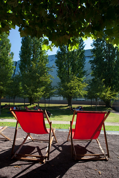 Red deck chairs on the courtyard of the Jewish Museum, Berlin, Germany