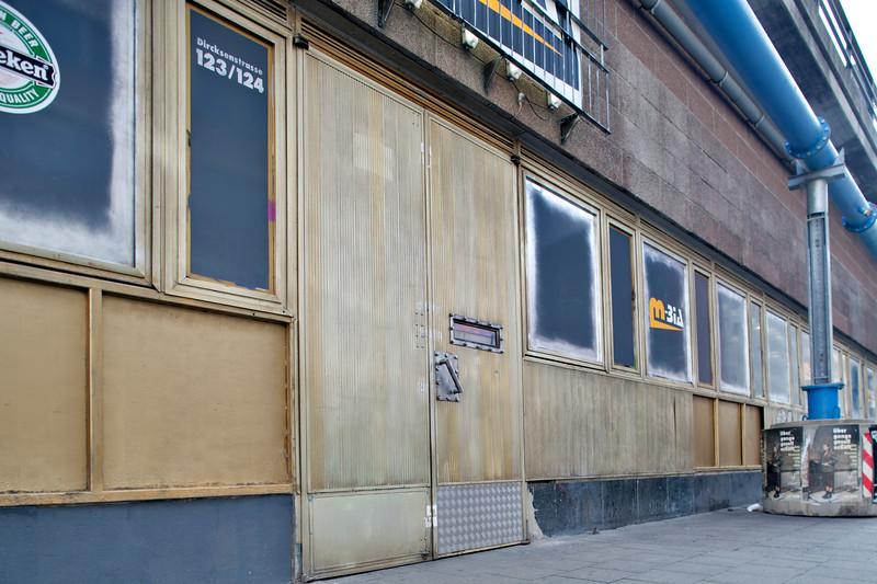 Bar facade on Dircksen street, Scheunenviertel district, Mitte, Berlin, Germany