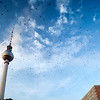Flock of birds by the Television Tower, Berlin, Germany