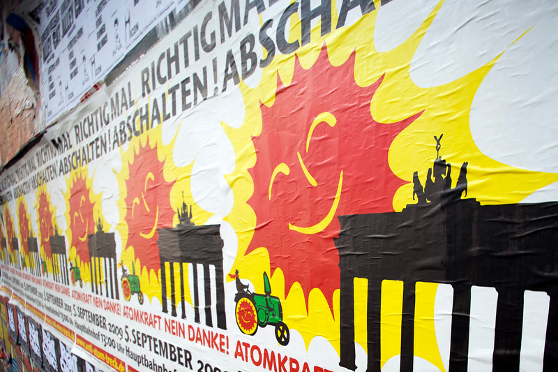 Anti-Atom posters on a wall, Berlin, Germany