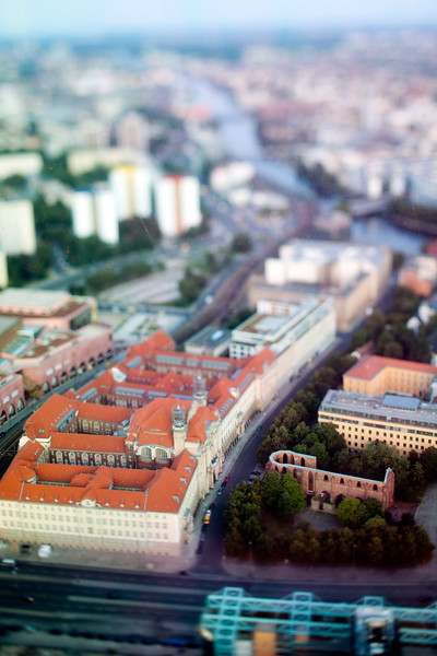 Aerial view from the TV Tower of Berlin Mitte, with the focus on the Franziskaner-Klosterkirche ruins and Littenstrasse, Germany. Tilted lens used for a shallower depth of field and to create, combined with the aerial view, a miniaturization effect.