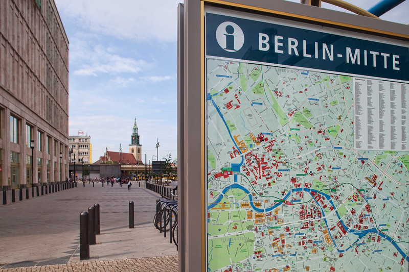 Street map of Berlin mitte district on Alexanderplatz, Berlin, Germany