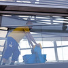 Cleaning works inside the Reichstag roof dome, Berlin, Germany