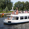 Boat on the Spree river, Berlin, Germany. Tilted lens used for shallow depth of field