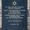 Plaque on the New Synagogue facade reminding the Kristallnacht, Berlin, Germany