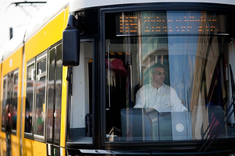 Close-up of a tram at Alexanderplatz, Berlin, Germany