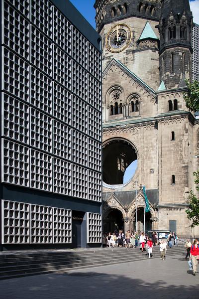 The new and original buildings of Kaiser Wilhelm Memorial Church, Berlin, Germany