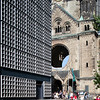 The new and original buildings of Kaiser Wilhelm Memorial Church, Berlin, Germany