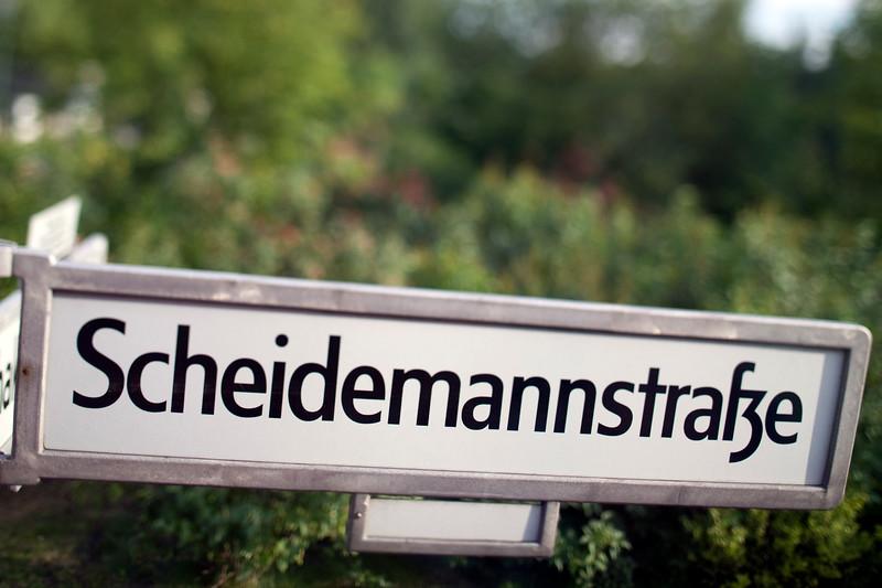 Sign of Scheidemann street, Tiergarten, Berlin, Germany