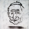 Stencil print caricature of the pope John Paul II on a wall, Berlin, Germany