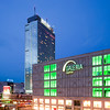 Galeria Kaufhof and Park Inn Hotel buildings by night, Alexanderplatz, Berlin, Germany