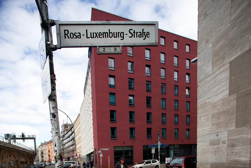 Sign of Rosa Luxemburg street, Berlin, Germany