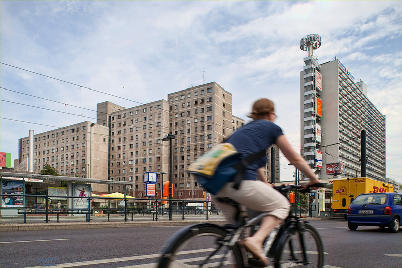 Cyclist on Karl-Liebknecht street, Berlin, Germany