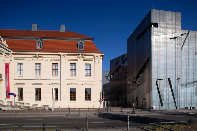 Exterior view of the old (left) and new (right) buildings of the Jewish Museum, Berlin, Germany