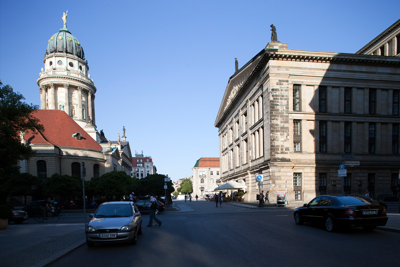 The French Cathedral (left) as seen from Französischestrasse, Berlin, Germany