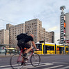 Cyclist on Karl-Liebknecht street, Berlin, Germany