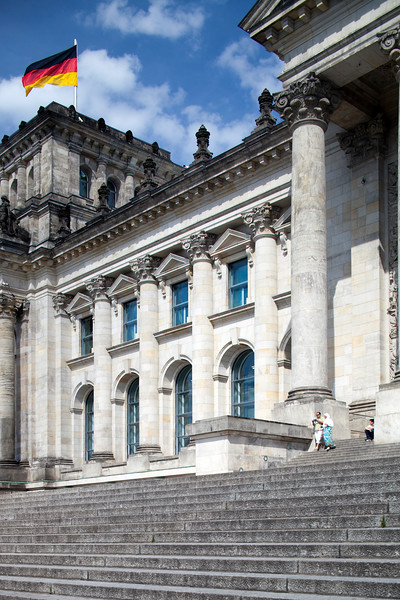 Partial view of the Reichstag facade, Berlin, Germany