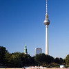 TV Tower, Marienkirche tower and Park Inn Hotel as seen from Schossplatz park, Berlin, Germany
