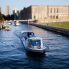 Boat on the Spree by Schlossplatz, Berlin, Germany. Tilted lens used for shallow depth of field.