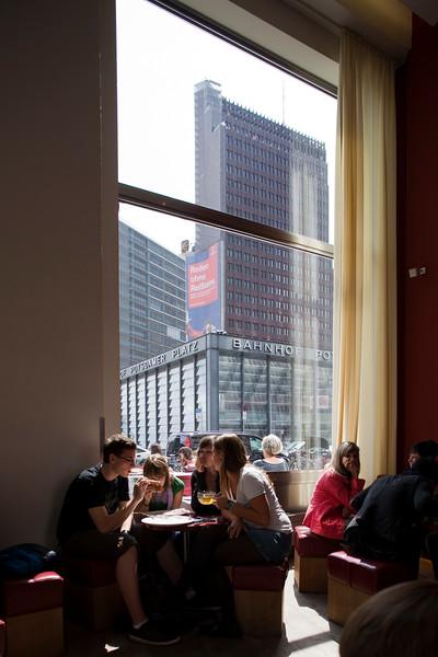 Postdamer Platz buildings as seen through the window of a restaurant, Berlin, Germany