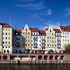 Nikolaiviertel houses from the Spree river, Berlin, Germany