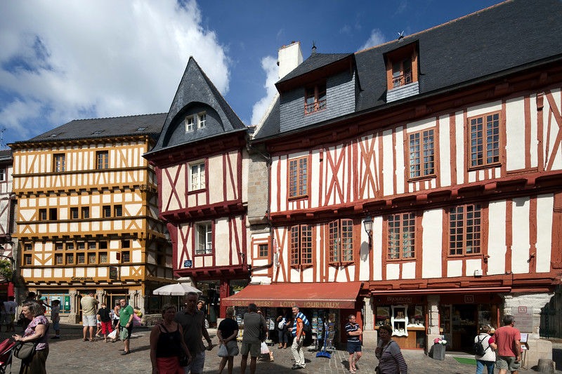 Typical houses, Henry IV Square, Vannes, department of Morbihan, region of Brittany, France