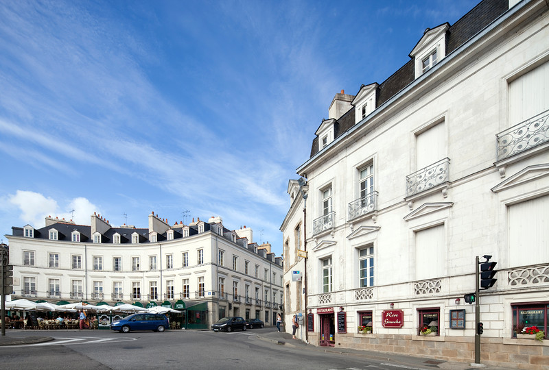 Gambetta square from Ferdinand Le Dressay street, Vannes, department of Morbihan, region of Brittany, France