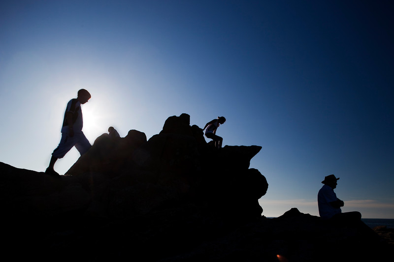 People on the top of a cliff, Cote Sauvage (Wild Coast), Quiberon, departament de Morbihan, Brittany, France
