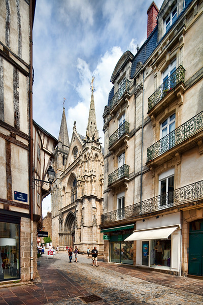 Saint-Pierre Cathedral as seen from Rampart street, Vannes, Brittany, France