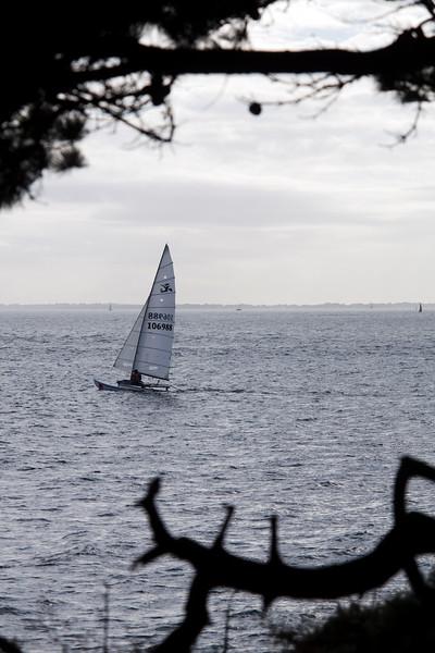 Boat sailing near Kerpenhir point, town of Locmariaquer, departament of Morbihan, Brittany, France