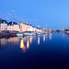 The port by night, town of Vannes, departament de Morbihan, Brittany, France