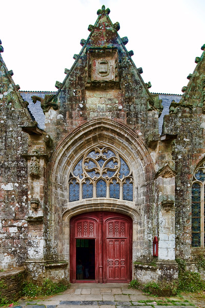 Entrance of the Collegiate Church, town of Rochefort-en-Terre, departament of Morbihan, region of Brittany, France