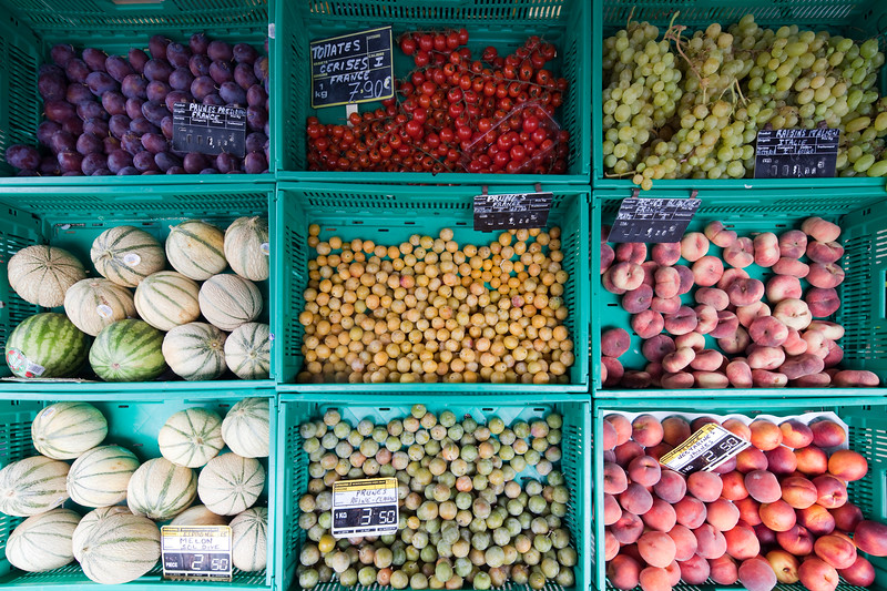 Boxes with fruits, town of Vannes, departament de Morbihan, Brittany, France