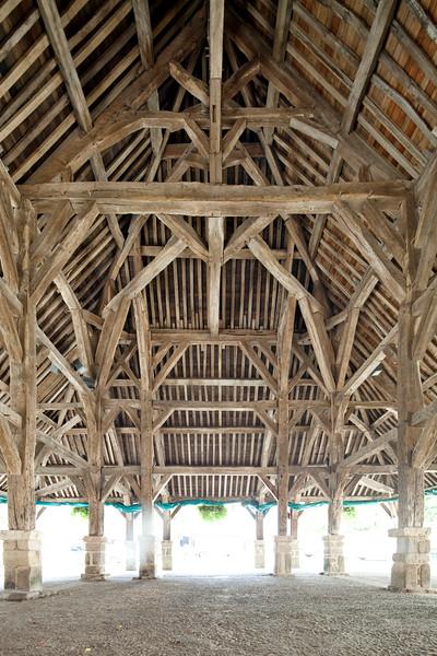 17th century market hall, town of Questembert, departament of Morbihan, region of Brittany, France