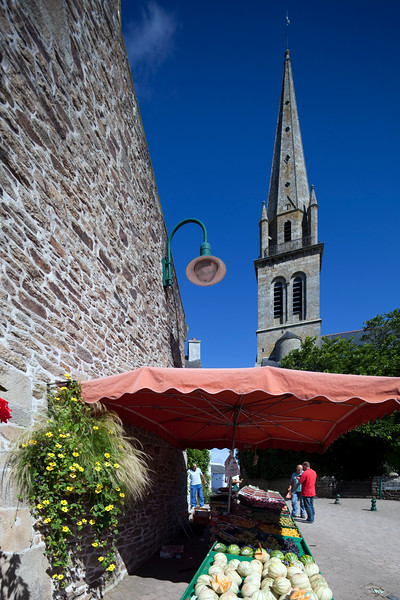 Fruit stands on the street, town of Baden, departament of Morbihan, Brittany, France