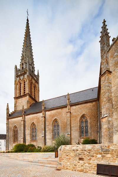 Church of the town of Pluneret, departement of Morbihan, Brittany, France