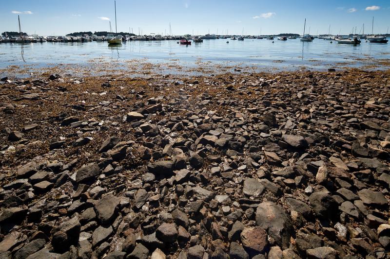 Pebble beach, Arradon point, departament of Morbihan, Brittany, France