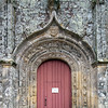 Entrance door of the Trinity chapel, town of Plumergat, departement of Morbihan, Brittany, France