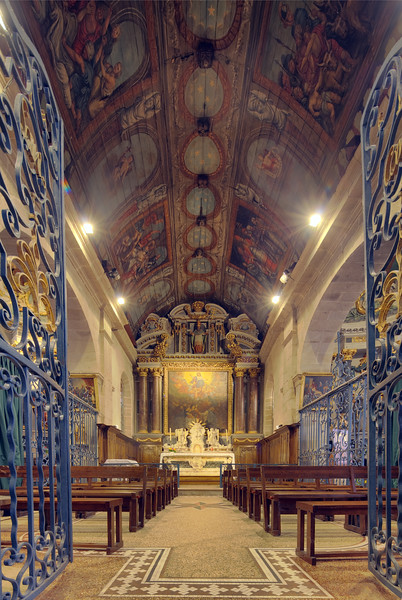 Interior of Saint-Cornely church, town of Carnac, departament of Morbihan, Brittany, France