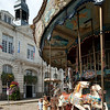 Merry-go-round in front of the City Hall, town of Auray, departement of Morbihan, Brittany, France