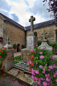 World War I and II Memorial, town of La Vraie Croix, departament of Morbihan, region of Brittany, France