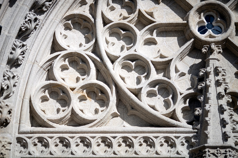 Geometric ornaments from the main entrance tympanum of the Cathedral of Quimper, departament of Finistere, region of Brittany, France