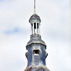 Top of the bell tower of Saint-Thuriau church, town of Plumergat, departement of Morbihan, Brittany, France