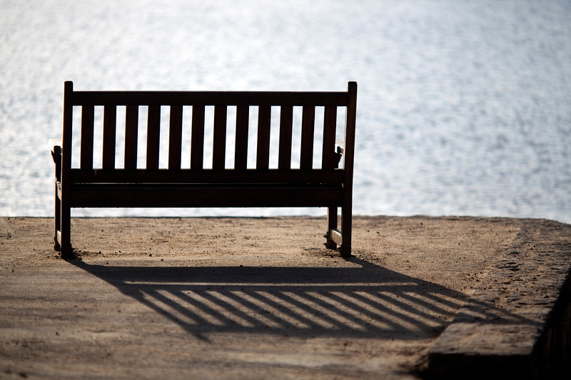 Bench by the Sea, Conleau island, town of Vannes, departament of Morbihan, region of Brittany, France