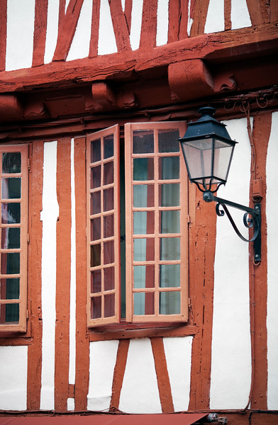 Detail of the facade of a typical house, Vannes, department of Morbihan, region of Brittany, France