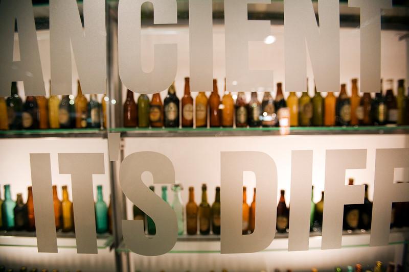Beer bottles exhibited at Guinness storehouse, Dublin, Ireland