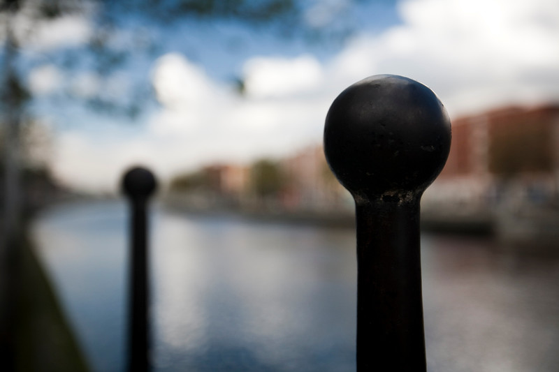 Metallic post by the Liffey river on Aston Quay, Dublin, Ireland