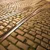 Tramway tracks on a cobblestone road, Dublin, Ireland