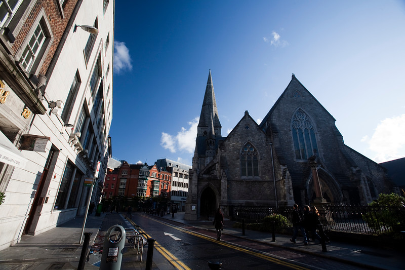 View of Suffolk Street and the Dublin Tourism Centre (the building on the right resembling a Gothic church), Dublin, Ireland