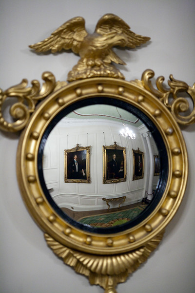 Mirror on the wall of the Portrait Gallery, Dublin Castle, Dublin, Ireland